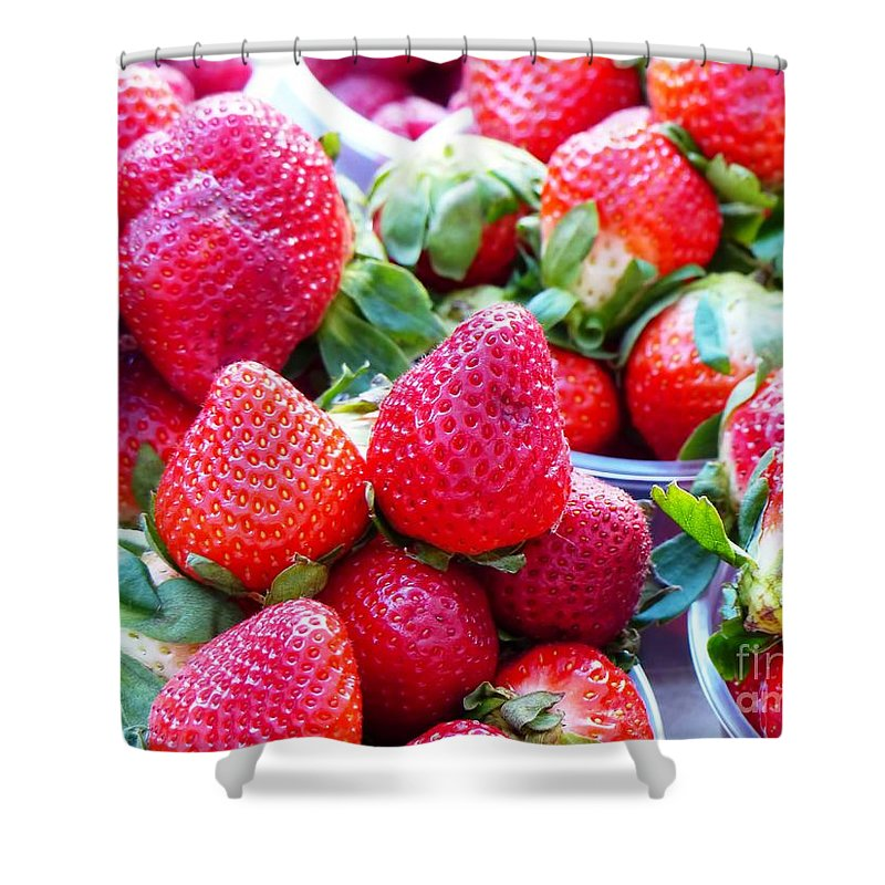 Strawberries Shower Curtain featuring the photograph Strawberry Fest by Carlos Amaro
