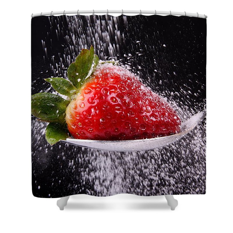 Strawberry Shower Curtain featuring the photograph Strawberry by Manfred Lutzius