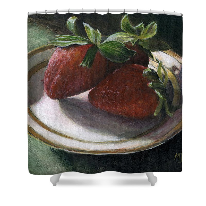 Strawberries Shower Curtain featuring the painting Strawberry Still Life by Michael Beckett