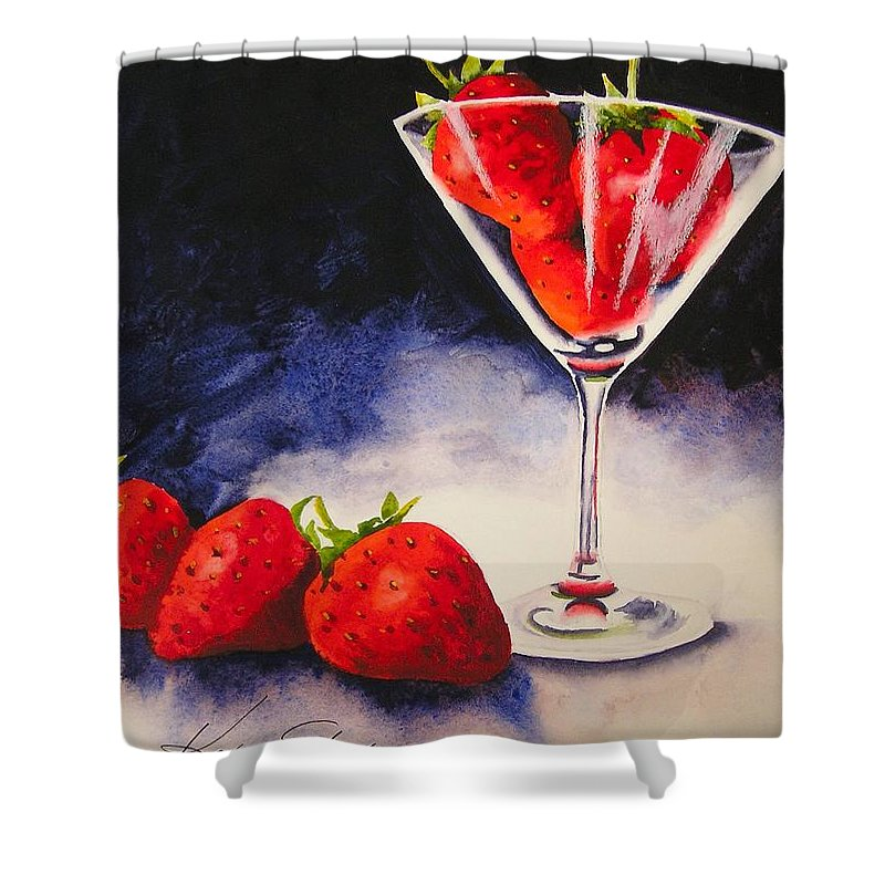 Strawberry Shower Curtain featuring the painting Strawberrytini by Karen Stark