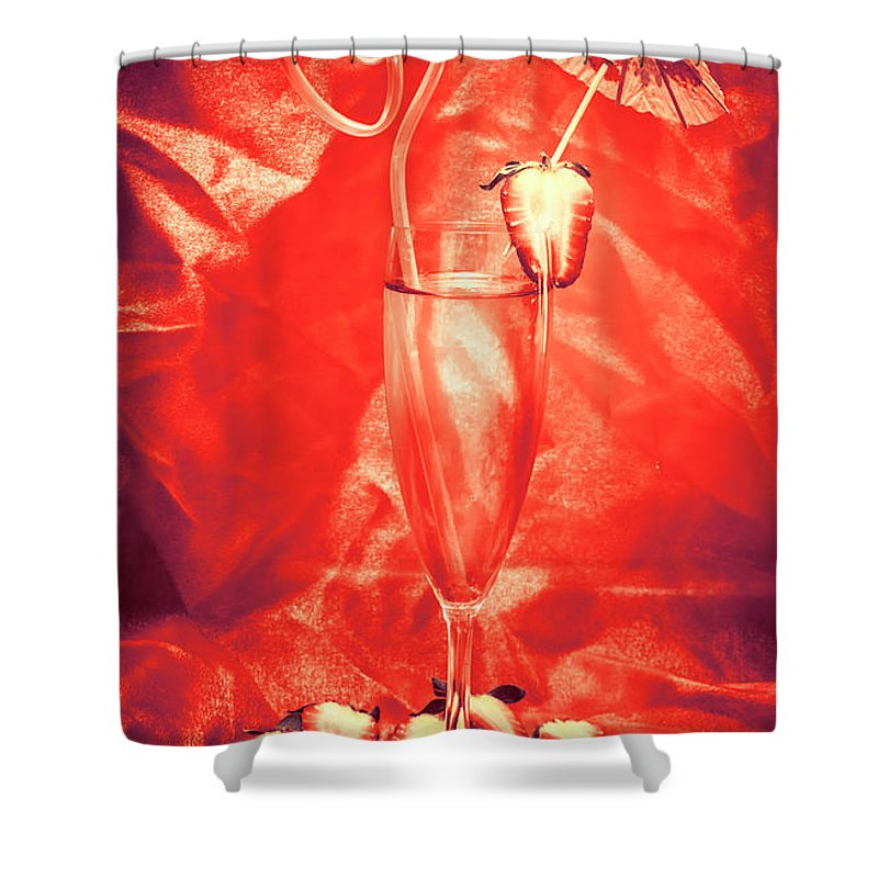 Martini Shower Curtain featuring the photograph Straweberry Tropical Cocktail Drink by Jorgo Photography - Wall Art Gallery