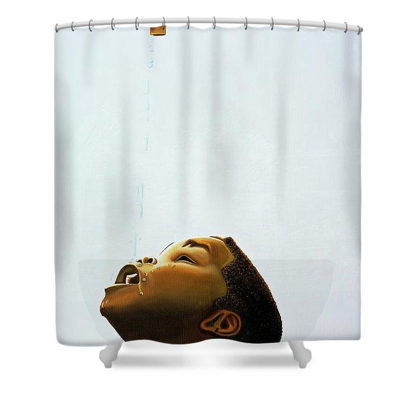 Merveilleux Kaaria Shower Curtain Featuring The Painting Streams In The Desert By  Kaaria Mucherera