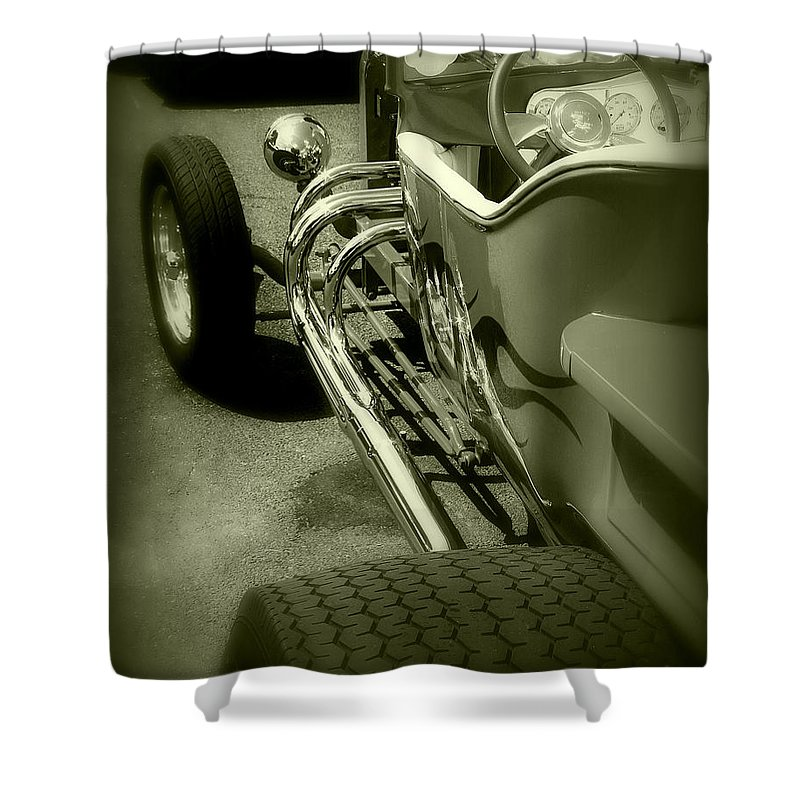 Car Shower Curtain featuring the photograph Street Chrome by Perry Webster