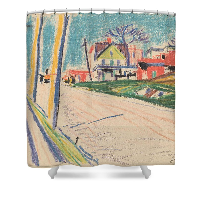 Shower Curtain featuring the drawing Street In The Bronx by Oscar F. Bluemner
