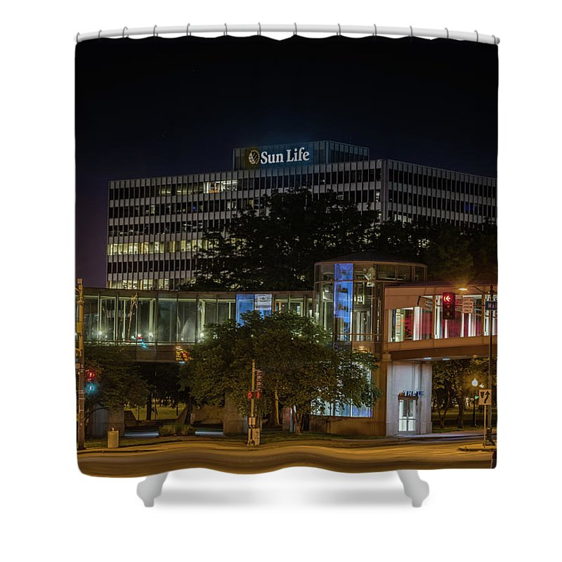 Buildings Shower Curtain featuring the photograph Street Life by Mike Cox