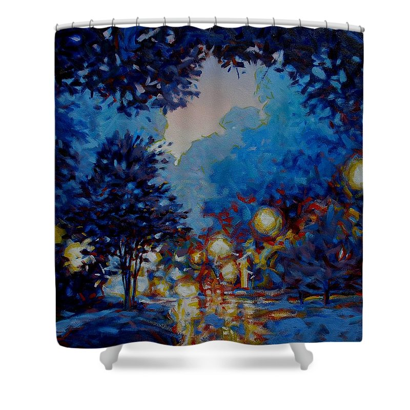 City Shower Curtain featuring the painting Street Lights by Kevin Lawrence Leveque