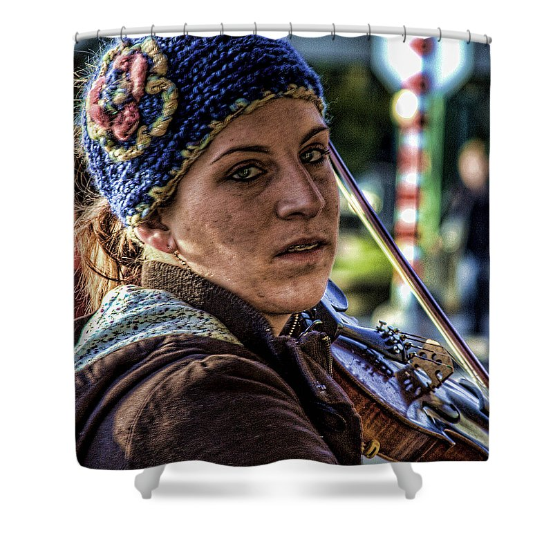 Pike Place Market Shower Curtain featuring the photograph Street Musician IIi by David Patterson