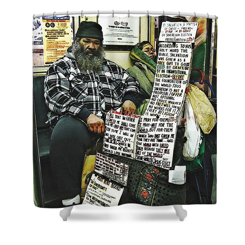 Passenger Shower Curtain featuring the photograph Street Preacher On The A Train by Sarah Loft