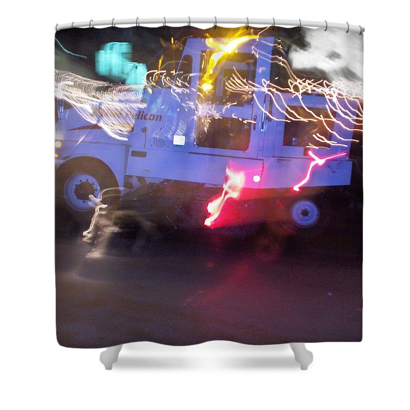 Photograph Shower Curtain featuring the photograph Street Sweeper by Thomas Valentine