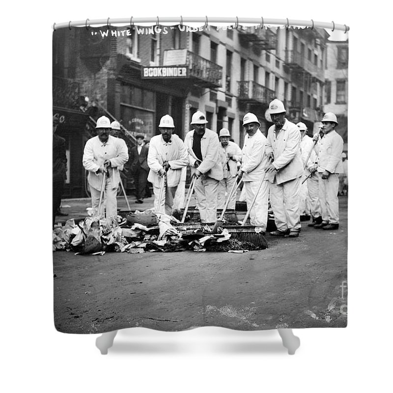 1911 Shower Curtain featuring the photograph Street Sweepers, 1911 by Granger