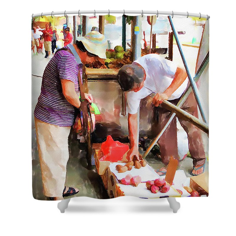 Street-vendors Shower Curtain featuring the painting Street Vendors 1 by Jeelan Clark