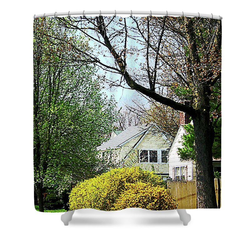 Spring Shower Curtain featuring the photograph Street With Forsythia by Susan Savad