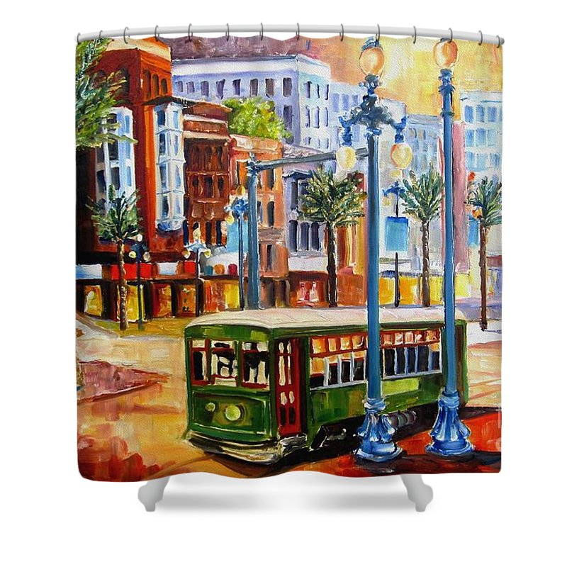 New Orleans Paintings Shower Curtain featuring the painting Streetcar on Canal Street by Diane Millsap
