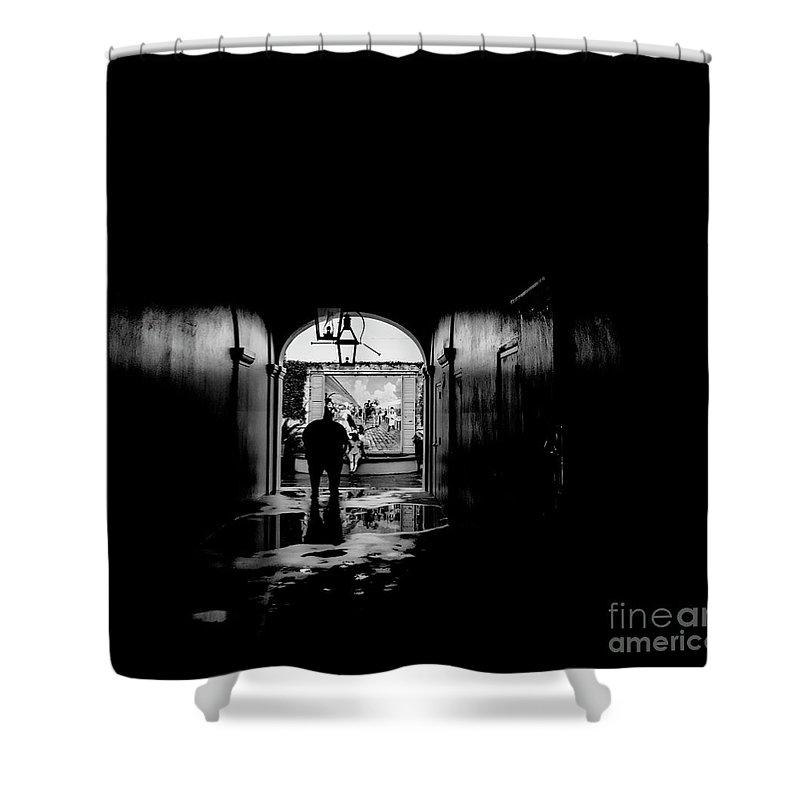 Street Photography Shower Curtain featuring the photograph Streets Of New Orleans Black by Chuck Kuhn