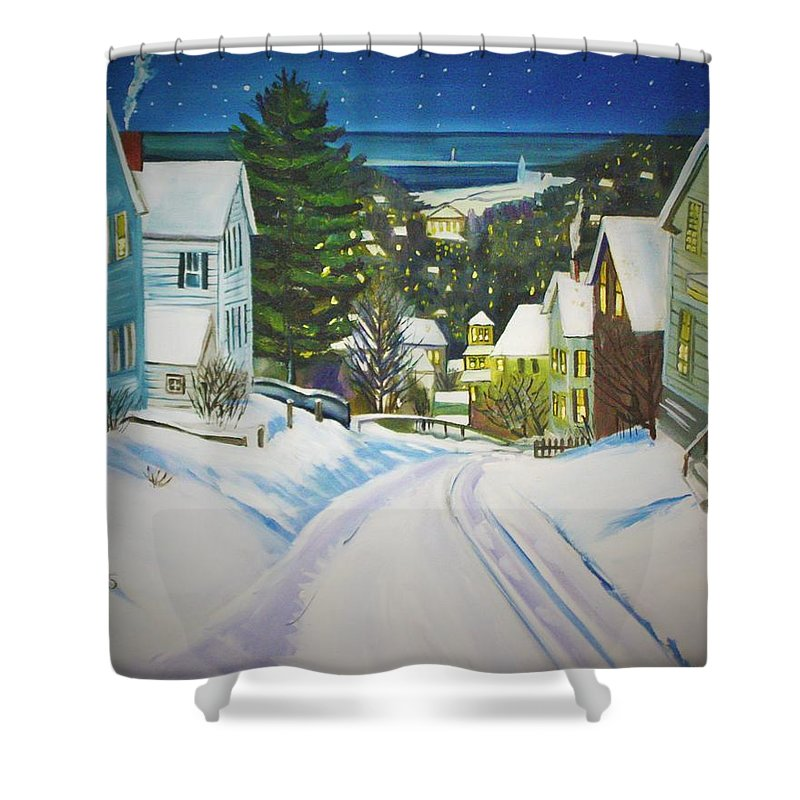 Winter Shower Curtain featuring the painting Streets Of Snow by Kathy Bryant-Williams