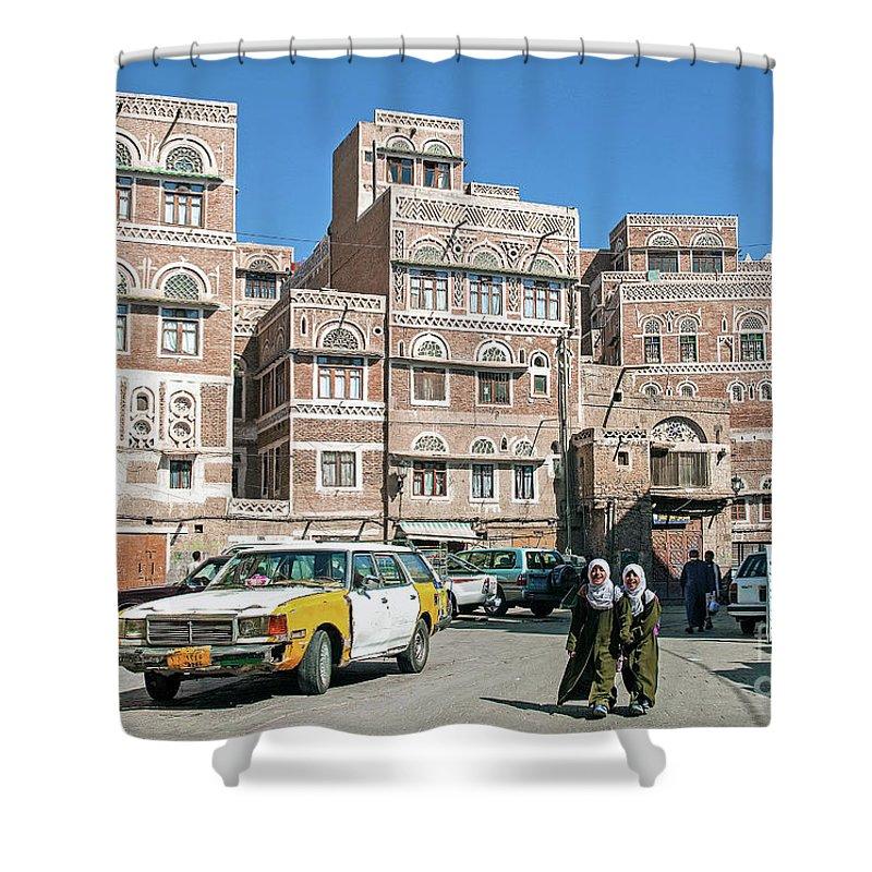 Streetscene In Downtown Sanaa City Old Town In Yemen Shower Curtain