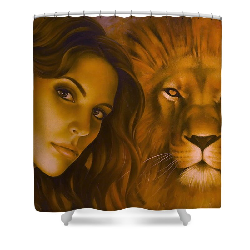 Portrait Shower Curtain featuring the painting Strenght And Tenderness by Arthur Braginsky