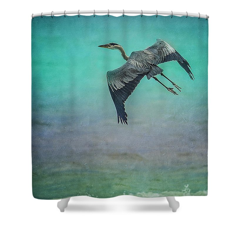 Heron Shower Curtain featuring the photograph Stretch Those Legs by Leena Hannonen
