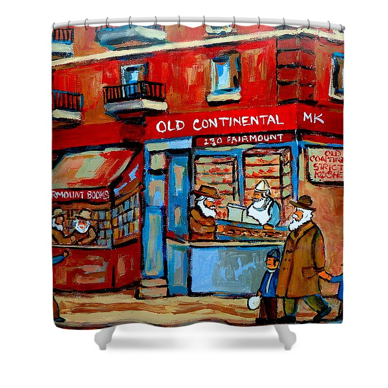 Old Continental On Fairmount Shower Curtain featuring the painting Strictly Kosher by Carole Spandau