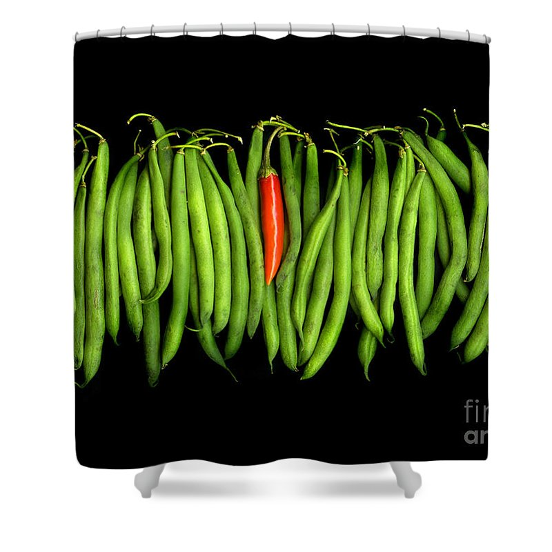 Culinary Shower Curtain featuring the photograph Stringbeans And Chilli by Christian Slanec
