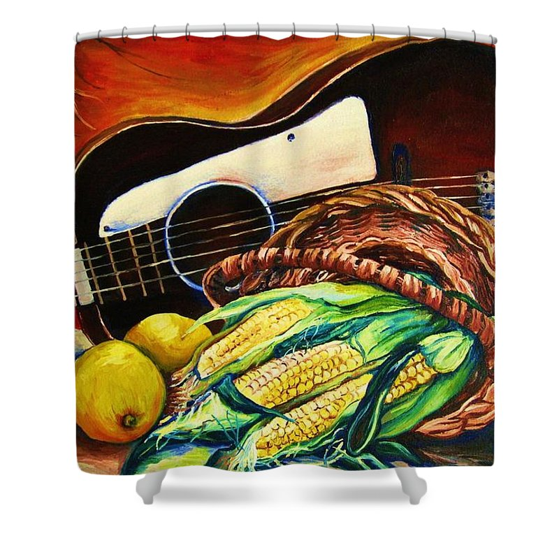 Country Life Shower Curtain featuring the painting Strings Attached by Carole Spandau
