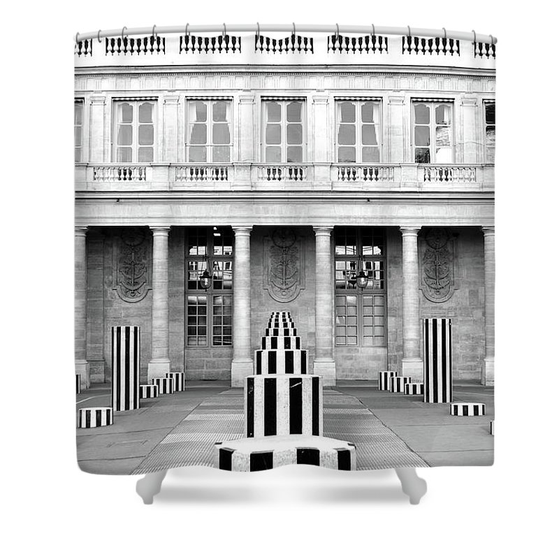 Travelpixpro Paris Shower Curtain Featuring The Photograph Striped Columns Of Palais Royal Courtyard In