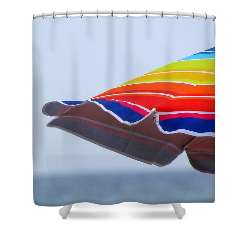 Stripes Shower Curtain featuring the photograph Seaside Stripes by Lori Pessin Lafargue