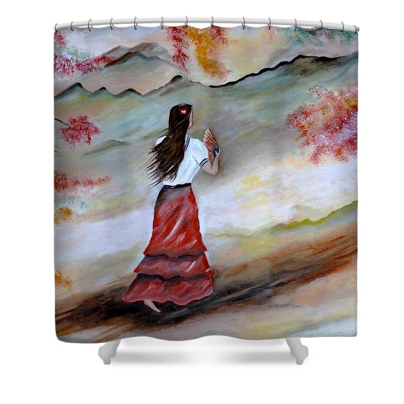 Senorita Shower Curtain featuring the painting Strollin Senorita by Lynne Messeck