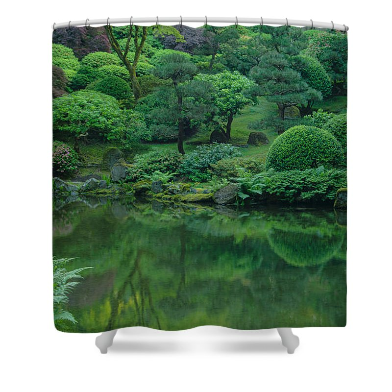 Portland Shower Curtain featuring the photograph Strolling Pond Serenity by Don Schwartz