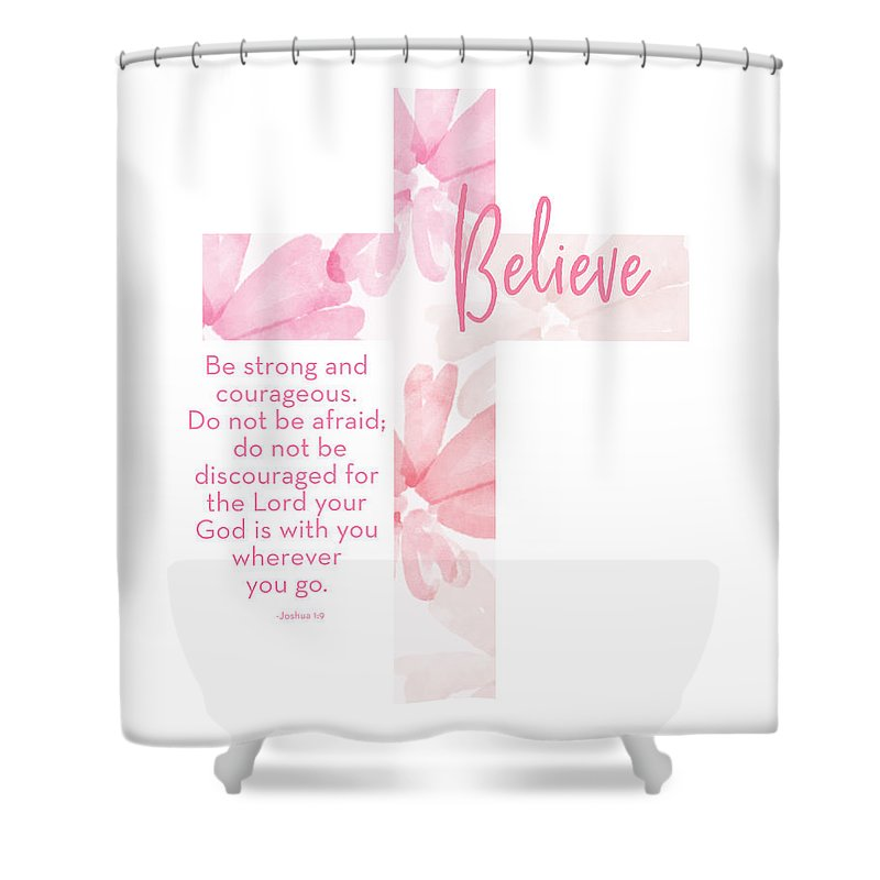 Cross Shower Curtain featuring the mixed media Strong And Courageous Cross- Art By Linda Woods by Linda Woods