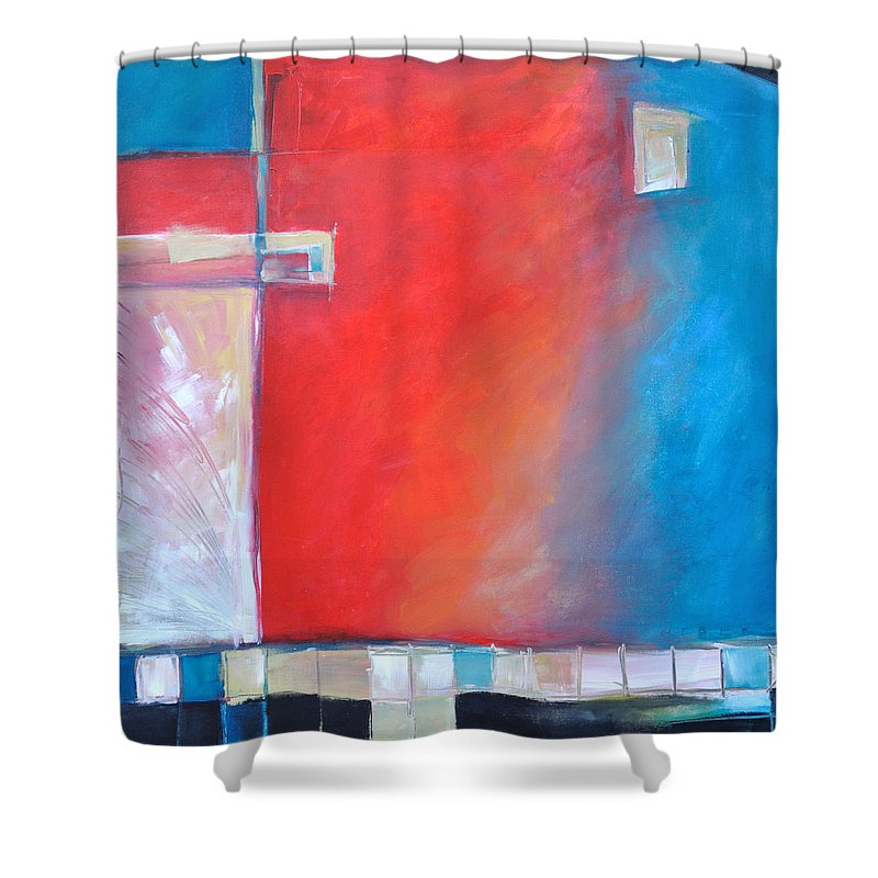 Abstract Shower Curtain featuring the painting Structures And Solitude Revisited by Tim Nyberg
