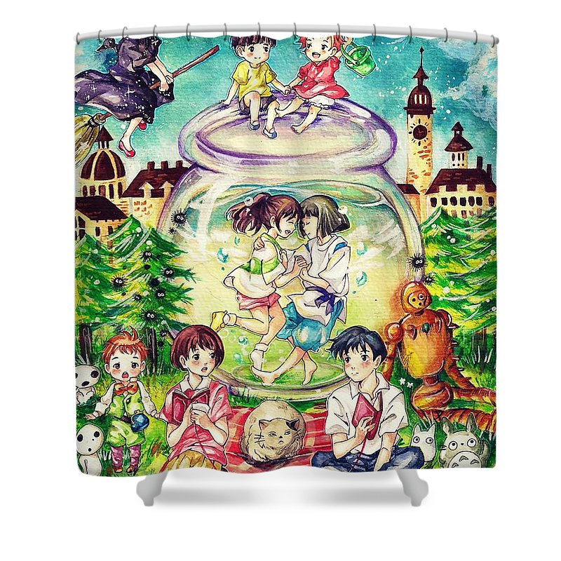 Howls Moving Caslte Shower Curtain Featuring The Digital Art Studio Ghibli By Lobito Caulimon