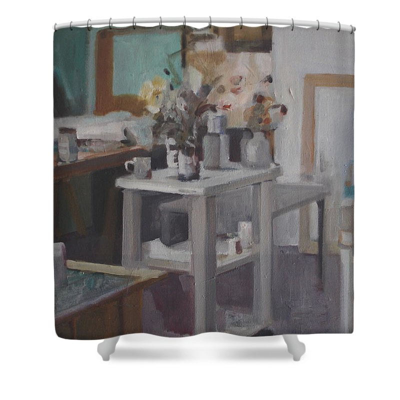 Green Shower Curtain featuring the painting Studio Still Life by Emily Gibson