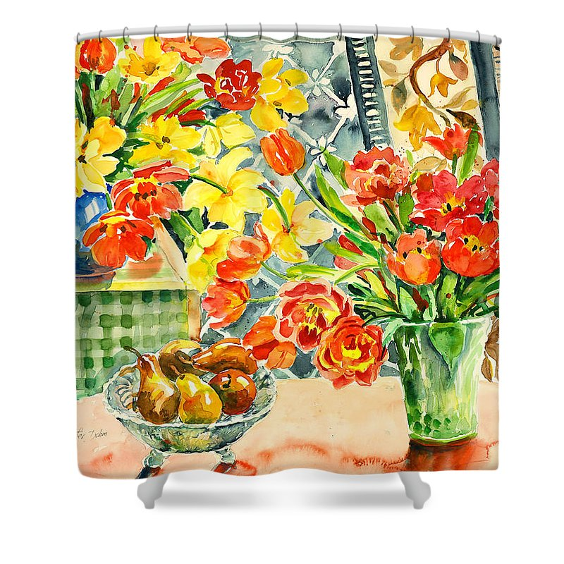 Watercolor Shower Curtain featuring the painting Studio Still Life by Ingrid Dohm
