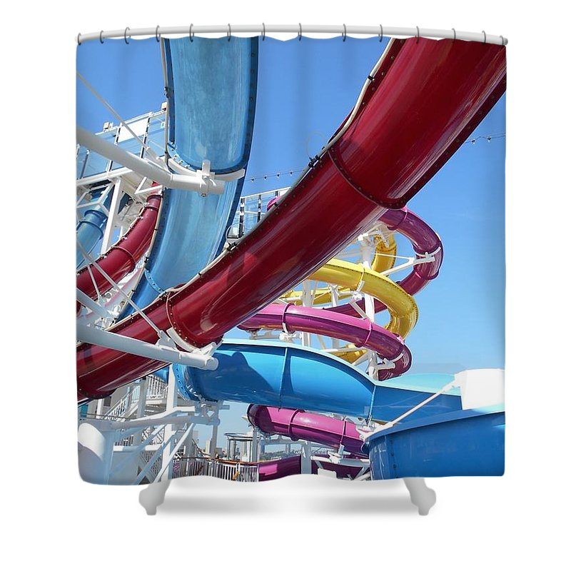 Ship Shower Curtain featuring the photograph Study In Shipboard Waterslides by Carolyn Quinn