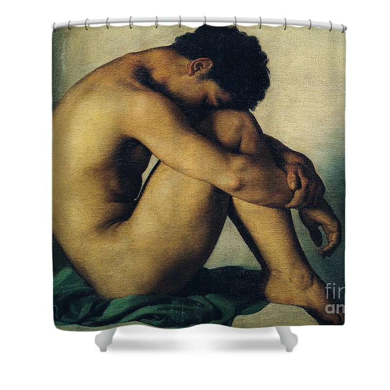 Study Shower Curtain featuring the painting Study Of A Nude Young Man by Hippolyte Flandrin