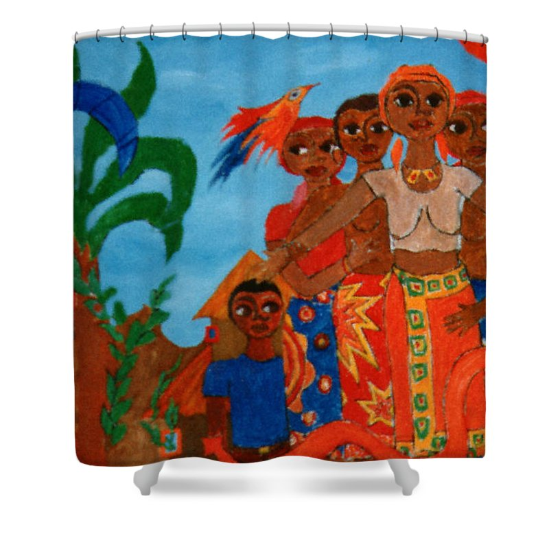 Study Shower Curtain featuring the painting Study To Motherland A Place Of Exile by Madalena Lobao-Tello