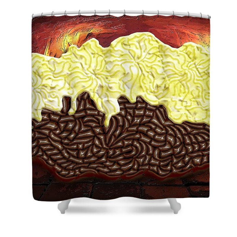 Potato Shower Curtain featuring the digital art Stuffed Potato by Mark Sellers