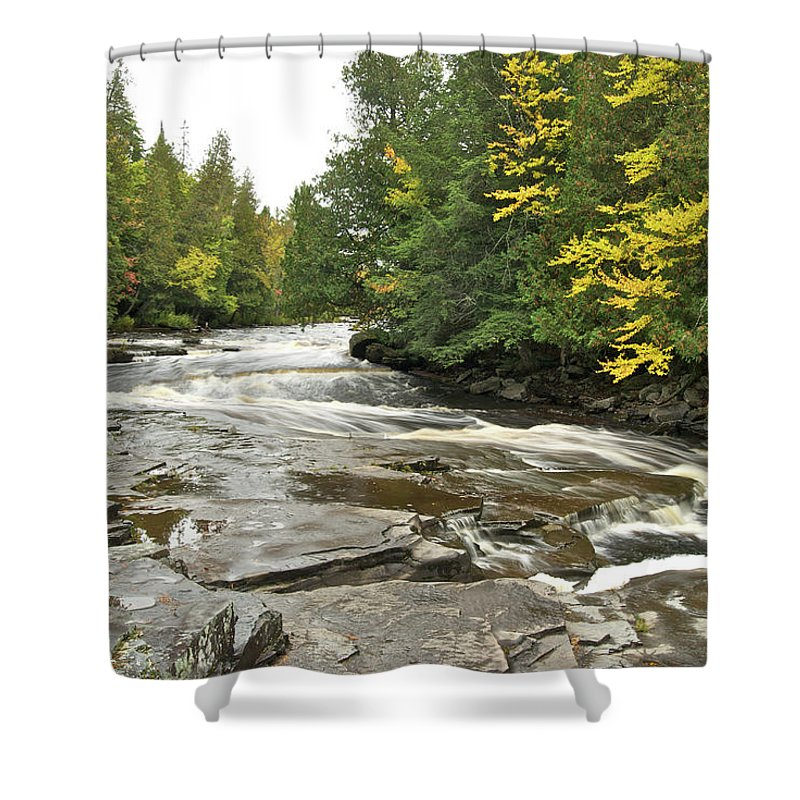 Michigan Shower Curtain featuring the photograph Sturgeon River by Michael Peychich