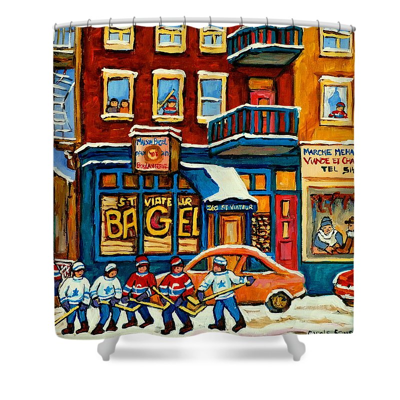 St.viateur Bagel Shower Curtain featuring the painting St.viateur Bagel Hockey Montreal by Carole Spandau