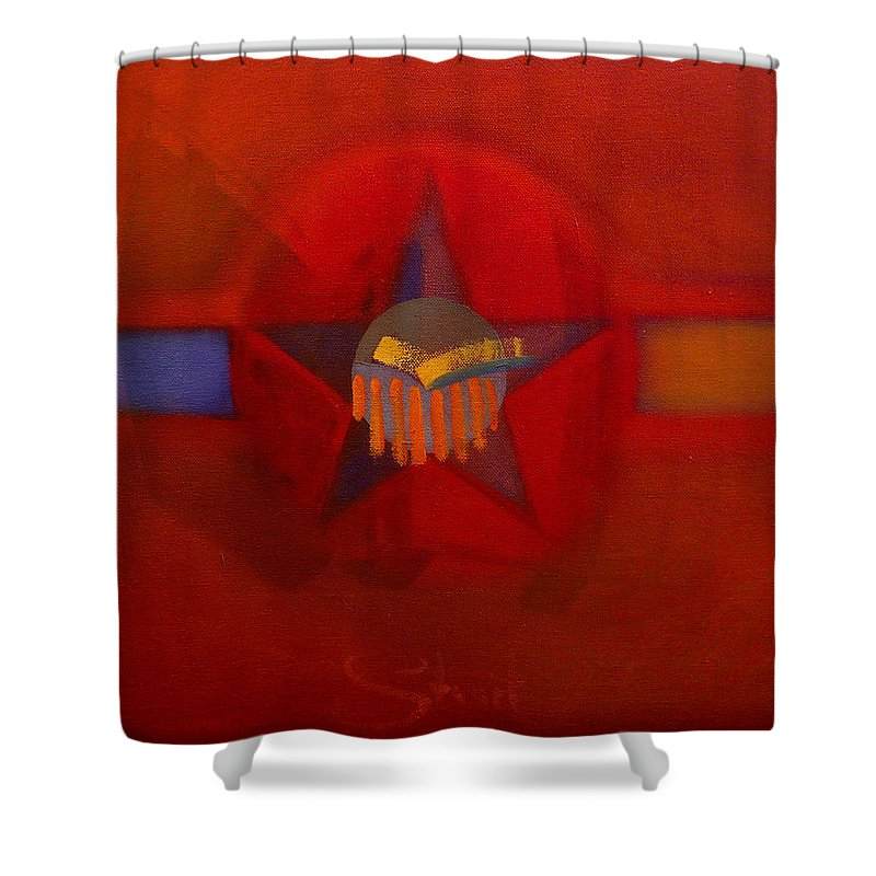 Warm Shower Curtain featuring the painting Sub Decal by Charles Stuart