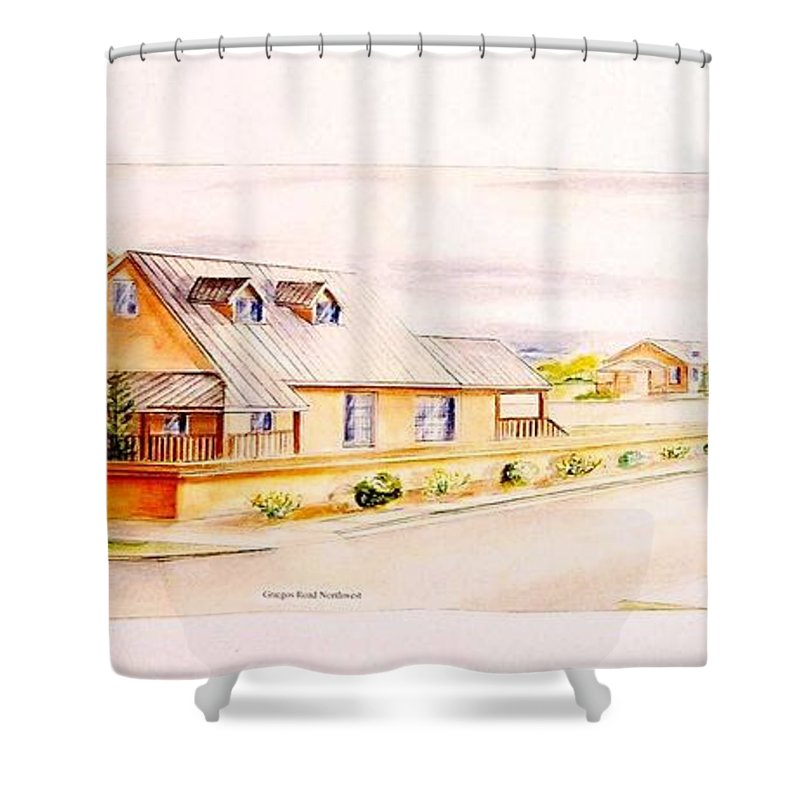 Architectural Renderings Shower Curtain featuring the painting Subdivison Rendering by Eric Schiabor