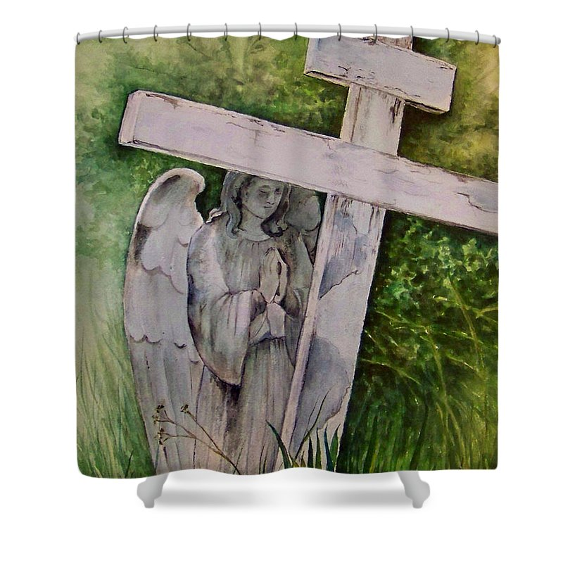 Watercolor Shower Curtain featuring the painting Sublime Watcher by Brenda Owen
