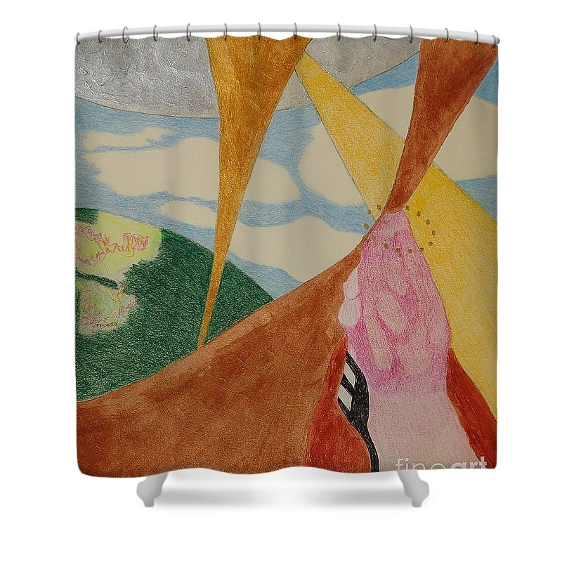 Subterranean Shower Curtain featuring the drawing Subteranian by Rod Ismay