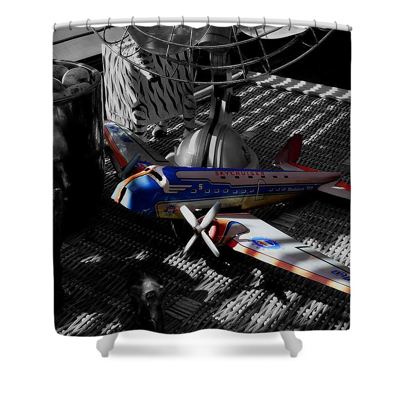 Still Life Shower Curtain featuring the photograph Suburban Safari The Zebra Strikes Back by Charles Stuart