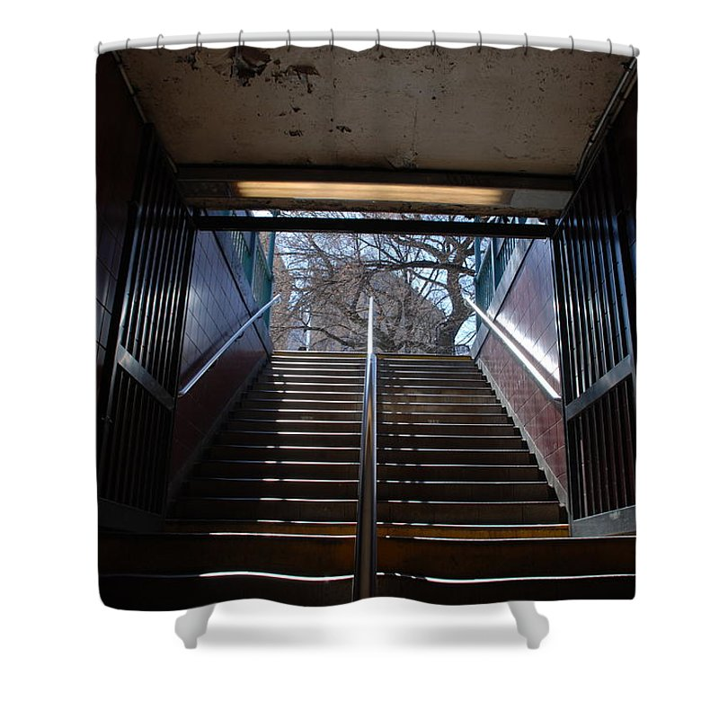 Pop Art Shower Curtain featuring the photograph Subway Stairs To Freedom by Rob Hans