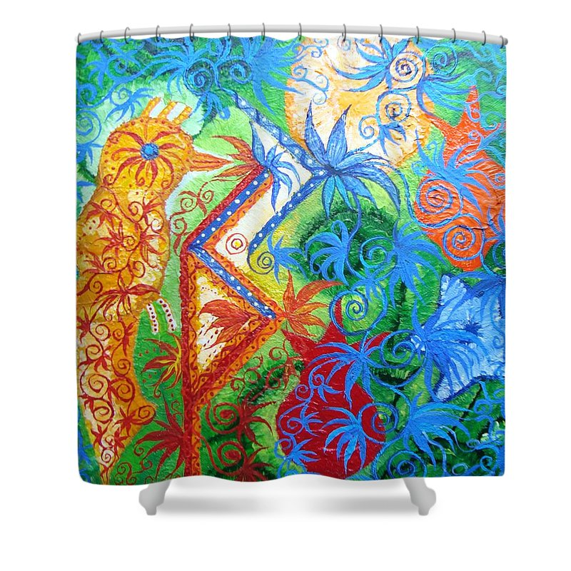 Runes Shower Curtain featuring the painting Success From Project by Joanna Pilatowicz