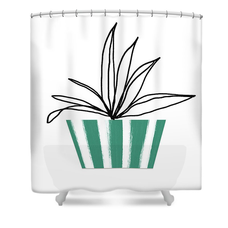 Plant Shower Curtain featuring the mixed media Succulent In Green Pot 3- Art By Linda Woods by Linda Woods