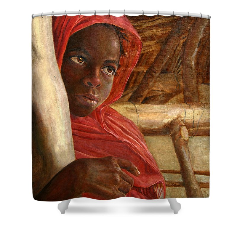 Children Painting Shower Curtain featuring the painting Sudanese Girl by Portraits By NC