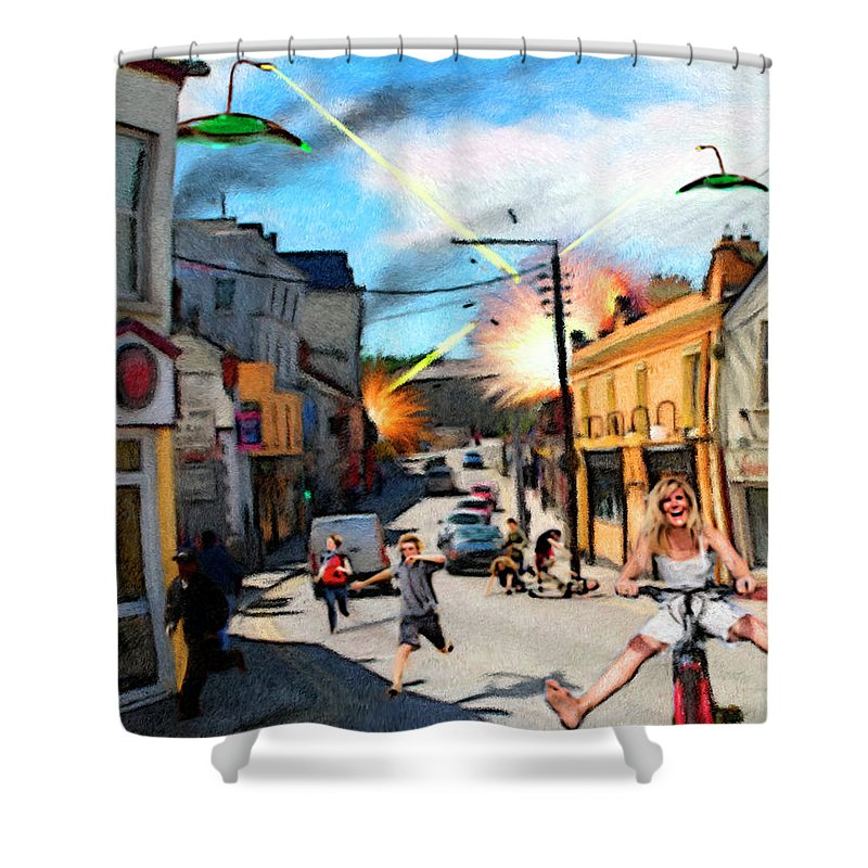 People Shower Curtain featuring the digital art Sudden Attack by Snake Jagger